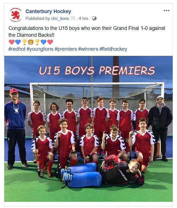 Under 15 Boys Winners